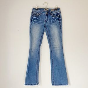 YMI bootcut bedazzled pocket jeans bleach …